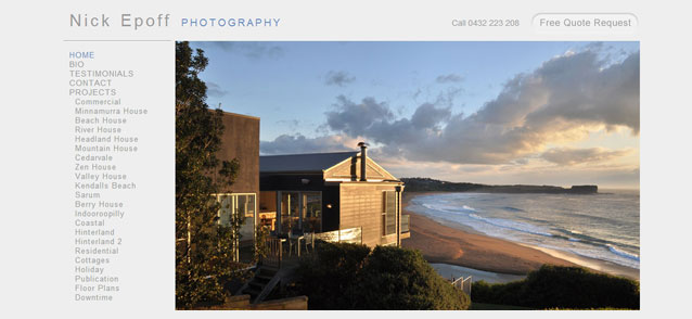 Nick Epoff Photography Website Design